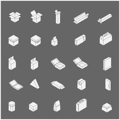 Icons set too many packaging design in isolated background