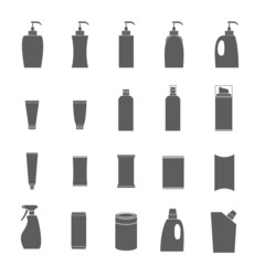 Vector Icons set packaging many products in isolated background