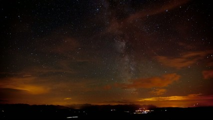 time lapse of milky way and star galaxies at night