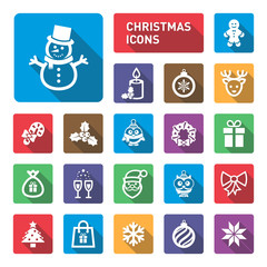 Christmas icons with shadow.