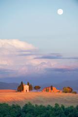 Tuscan famous chapel Vitaleta at the full moon, Italy