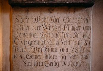 Inscription on the wall In Sedlec Ossuary (Kostnice), Kutna Hora
