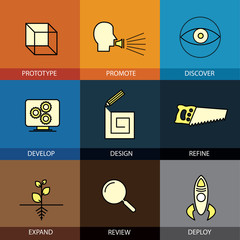 Flat design icons set of vector line prototype promote idea refi