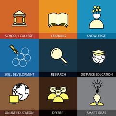 Flat design set of vector line icons of school & college, univer