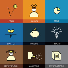 Flat design set of vector line icons of pitch big idea invent en