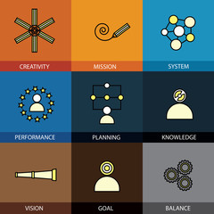 Flat design set of vector line icons of planning mission goal ta