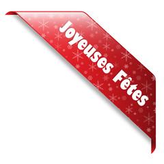 "Ruban ""Joyeuses Fêtes"" (noël joyeux bannière tampon bouton)"