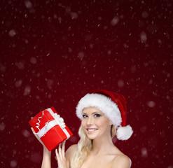 Beautiful woman in Christmas cap hands present
