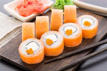 Sushi rolls philadelphia with caviar