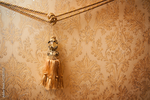 Beautiful golden tassel hanging on a rope on the background - 72927531