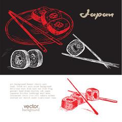 Hand drawn sushi illustration