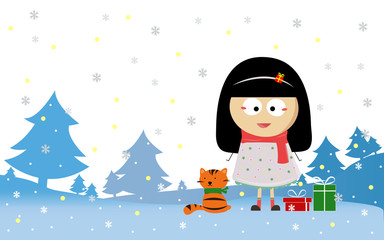 merry christmas with girl and cat