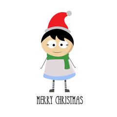 merry christmas with little boy cartoon