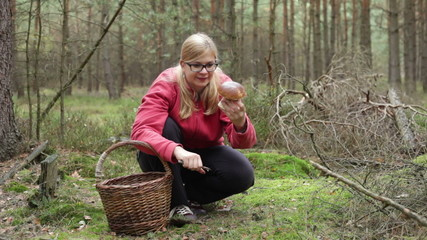 Woman mushroom picking in forest