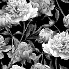 Seamless monochrome background with peonies