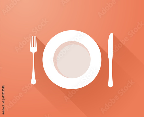 Plate with cutlery and long shadows - 72929540