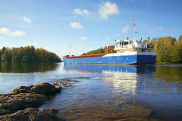 ship and rocks, Baltic sea, Saima channel