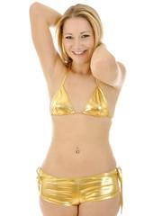 Twen in Gold Bikini