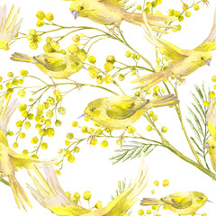 Seamless Pattern with Sprig of Mimosa, Yellow Bird