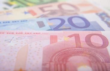 Various euro notes detail shot