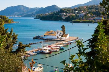 Pontikonisi and Vlacheraina monastery in laguna. Corfu, Greece.