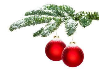 Christbaumkugeln vor weißem Hintergrund
