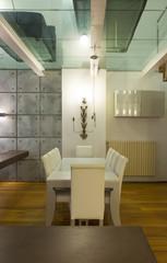Interior, wide loft, dining room