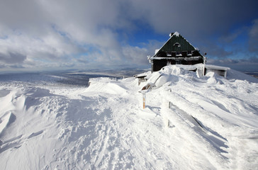 Mountain hut on the top of Szrenica in Poland.
