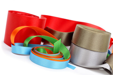 satin ribbons of different colors