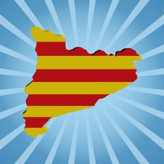 Catalonia map flag on blue sunburst illustration