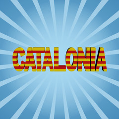 Catalonia flag text on blue sunburst illustration