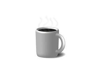 Coffee in white cup. Isolated on a white.