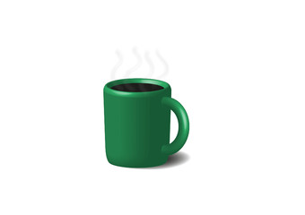 Coffee in green cup. Isolated on a white.