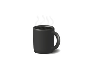 Coffee in black cup. Isolated on a white.
