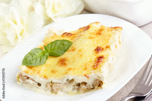 Papiers peints Assortiment Cannelloni with chicken and mushrooms baked in sauce bechamel