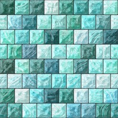 The pattern from the glass blocks in blue and green.