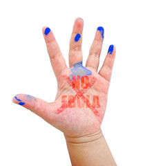 Children hand with word NO EBOLA  isolate on white background