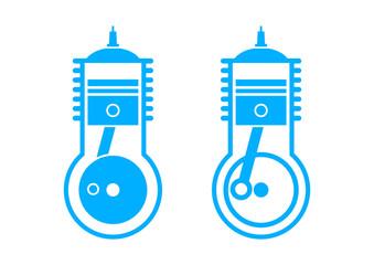 Blue engine icons on white background