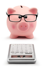 piggy bank with glasses and calculator accounting concept