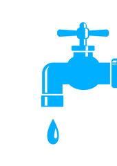 Blue faucet icon on white background