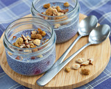 Fototapety Lavender blue blueberry chia seed pudding in mason jars