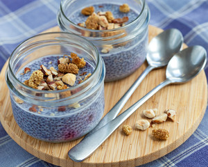 Lavender blue blueberry chia seed pudding in mason jars