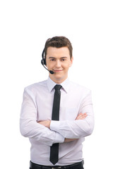 Portrait of customer service representative standing