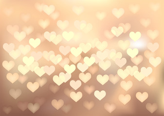 Pastel festive lights in heart shape, vector background.