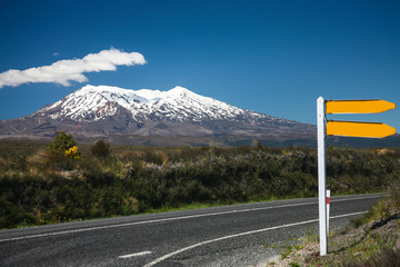 road sign and volcano Ruapehu in NZ