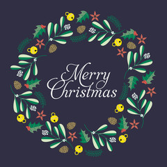 Vector retro christmas card with elements and illustrations.