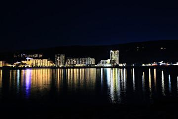 night city lights blurred background