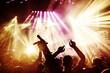 Obrazy na płótnie, fototapety, zdjęcia, fotoobrazy drukowane : Jubelnde Konzertbesucher auf Rock-Konzert