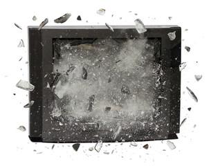 Television exploding isolated on white background