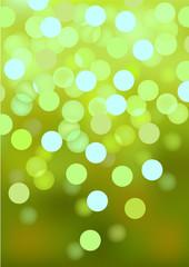 Green festive lights, vector background.